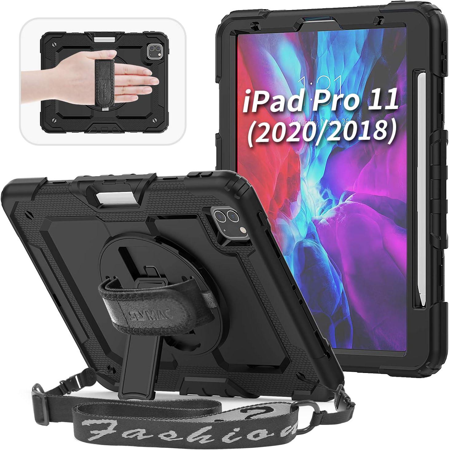 SEYMAC para el nuevo estuche de iPad Pro 11 2020, soporta la carga de un segundo lápiz de iPad y un par, con [protector de pantalla incorporado],negro: Amazon.es: Informática