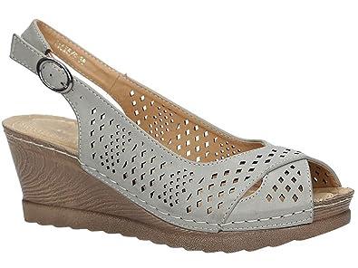 Casu Damen Sandalen mit Keilabsatz  Sommer Schuhe Keilsandaletten  mit Schnalle