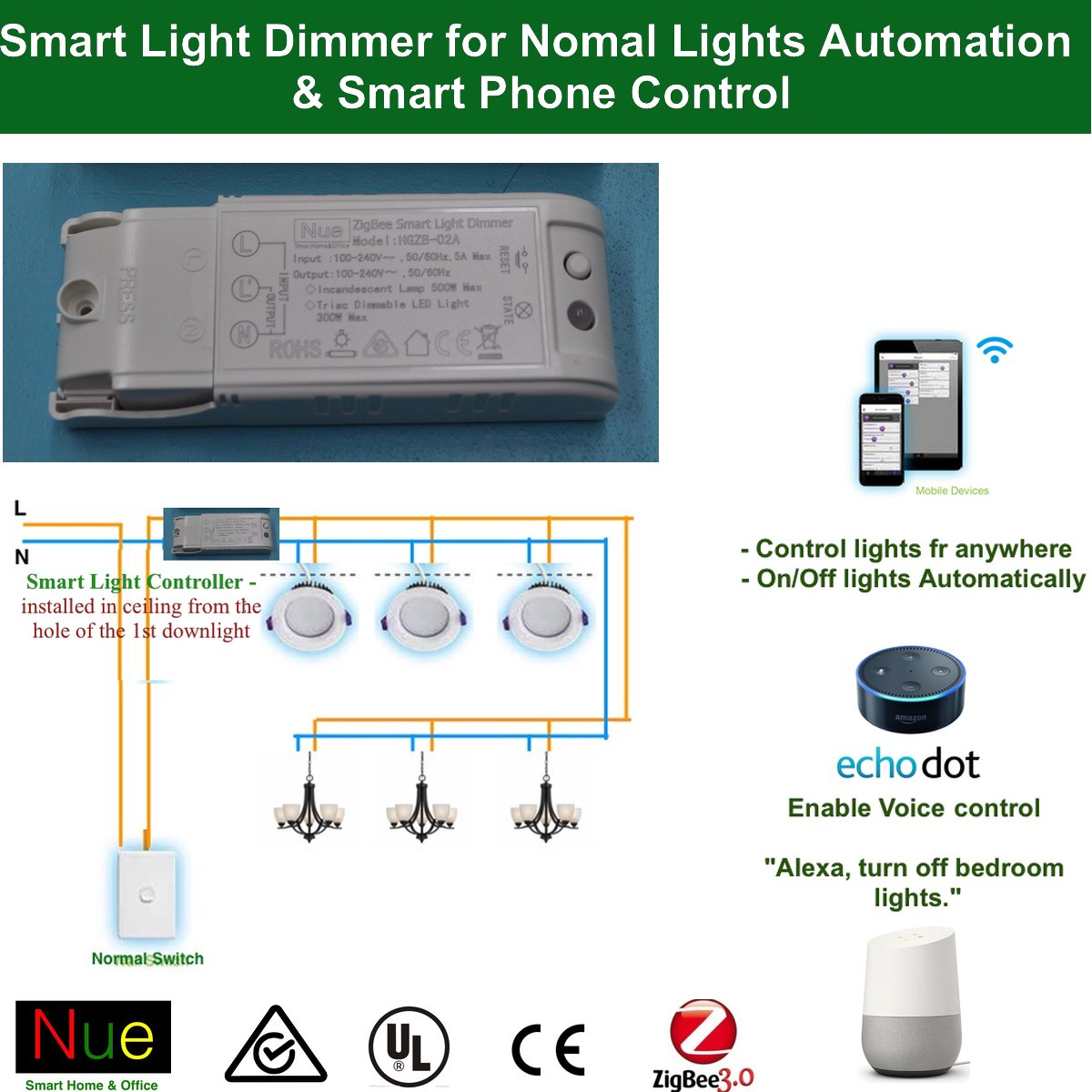 Au Nz Approved Smart Zigbee In Ceiling Light Dimmer For Upgrading Automatic Lamp Circuit Normal Lights And Switches To Wireless Home Automation Google Amazon Echo Dot