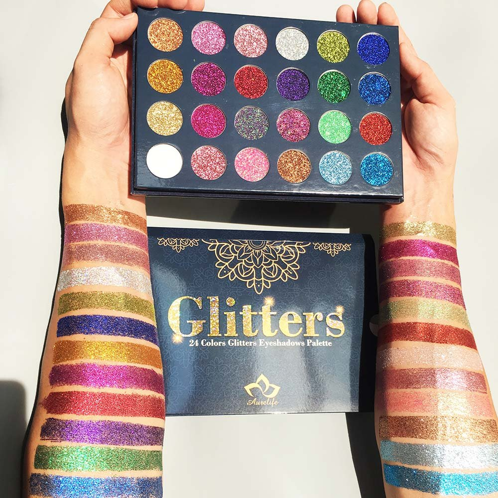 Kaidifangte 24 Color Matte Shimmery Flash Diamond Glitter Eye Shadow Palette