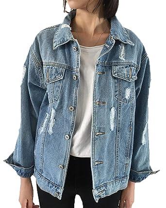 Yasminey Chaqueta Vaquera Mujer Elegantes Casual Rasgado De Solapa Manga Largo Afligido Abrigo De Jeans Joven Azul Tendencia Fashion Anchas Streetwear ...
