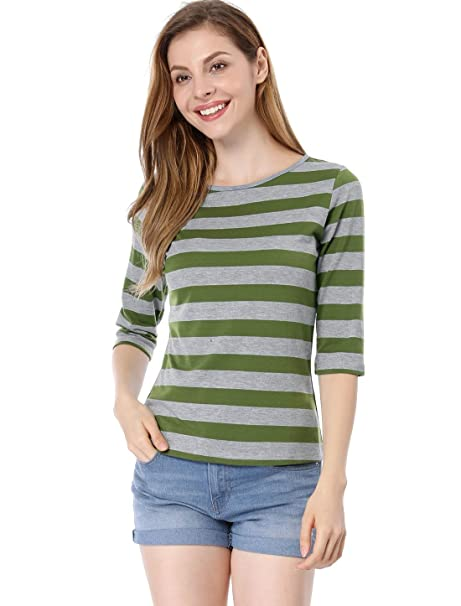 Allegra K Women s 1 2 Sleeves Contrast Color Stripes T-Shirt XS Green Grey 65fdeea3a