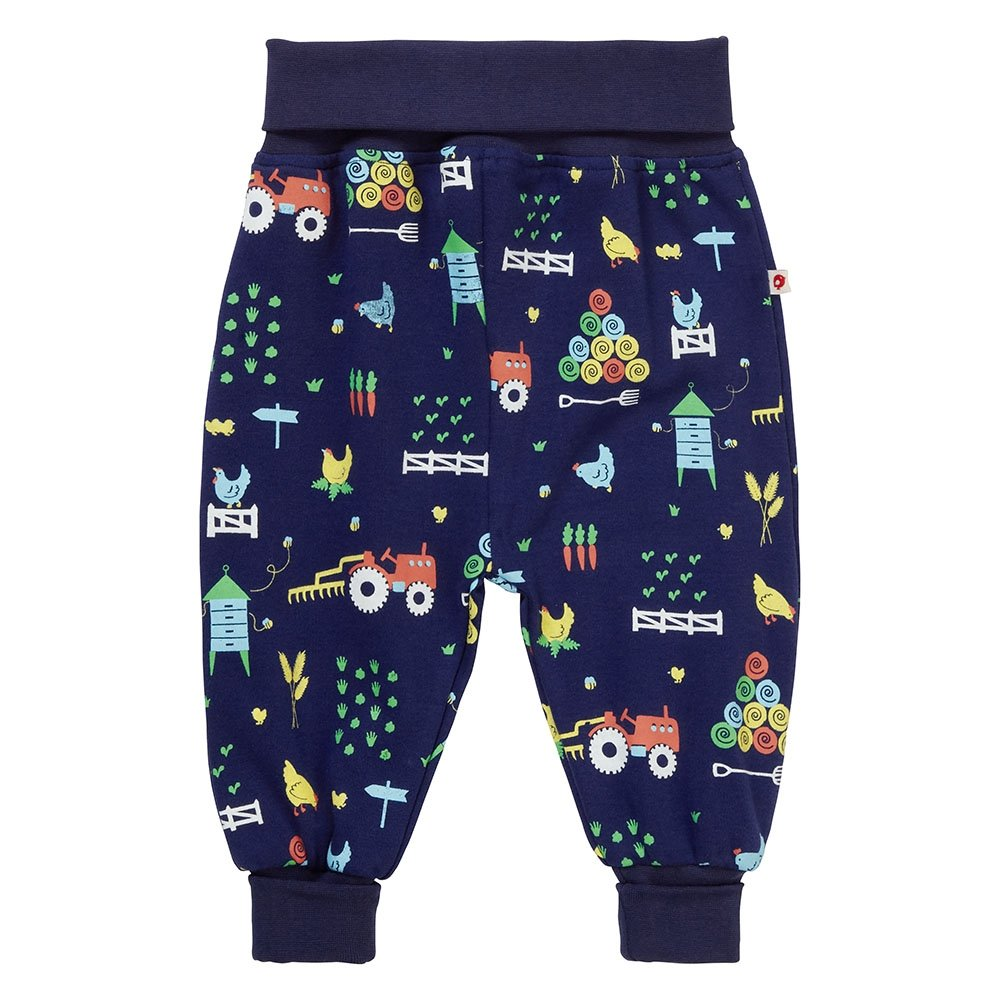 Piccalilly Jersey Organic Cotton Baby Trousers Navy Blue Farm Animal