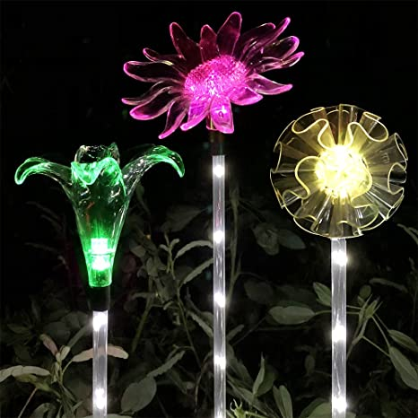Lucky Rain Solar Garden Stake Lights Outdoor Decorative Garden Stakes Color  Changing Solar Powered LED Lights