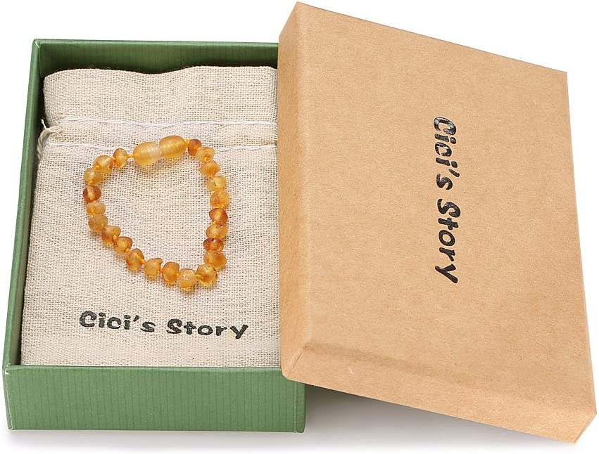 Unisex Cicis Story Baltic Amber Bracelet//Anklet Authentic Amber - Handcrafted 8 Inches Lab-Tested Cognac