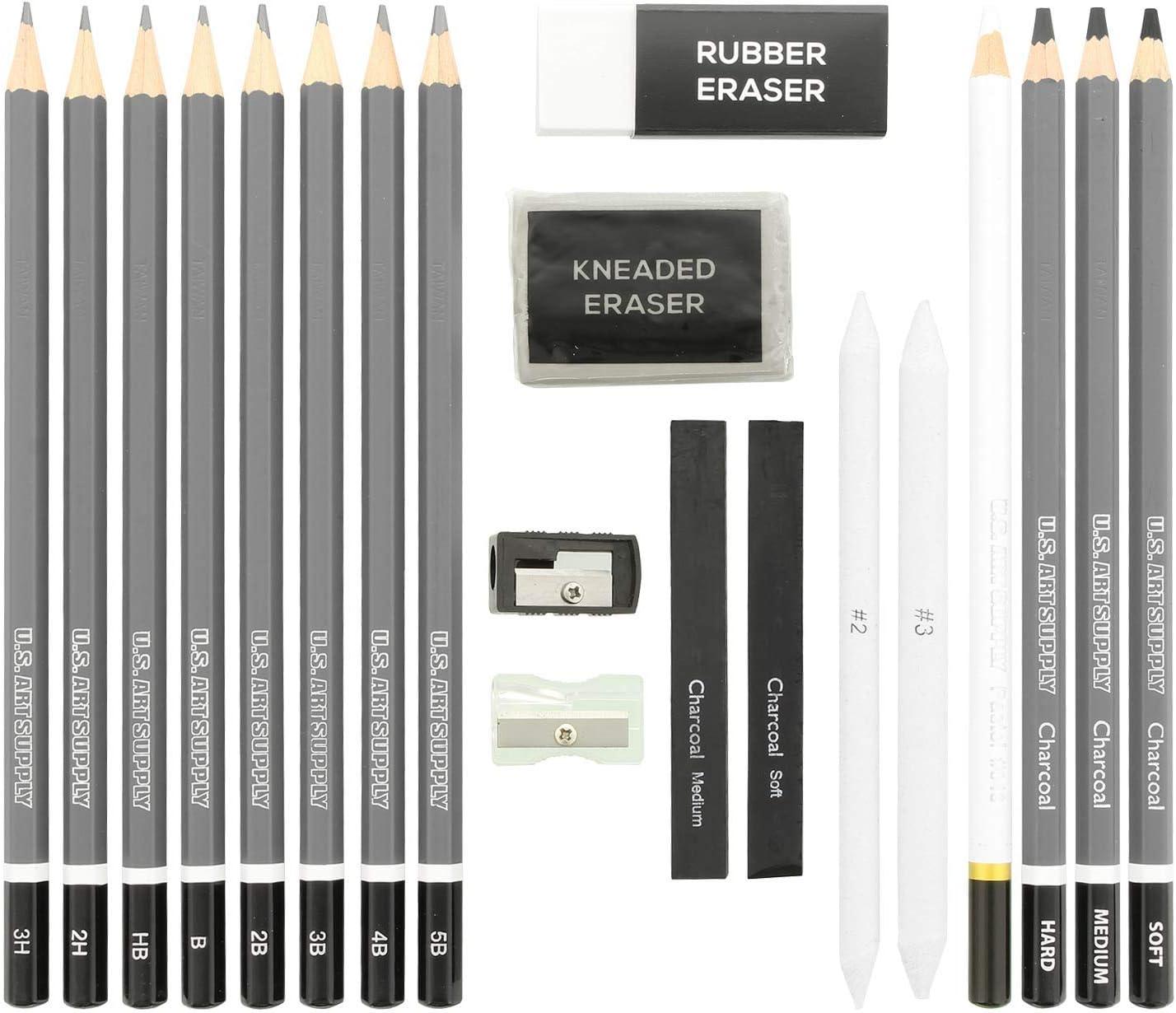 Pastel Bonus Pack of 2-5.5 x 8.5 Sketch Pads Sketch /& Charcoal Pencils Eraser Stumps Sharpeners U.S Art Supply 20 Piece Professional Hi-Quality Artist Sketch Set in Hard Storage Case