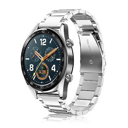 Fintie Correa para Huawei Watch GT2 / Huawei Watch GT Sport/Active/Classic 22mm Pulsera de Repuesto de Acero Inoxidable Banda Ajustable de Metal