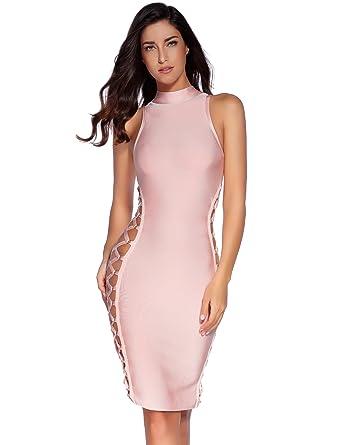 fa40d91cc0976b Amazon.com  Meilun Women s Lace Up Bandage Dress Sexy Bodycon Club ...