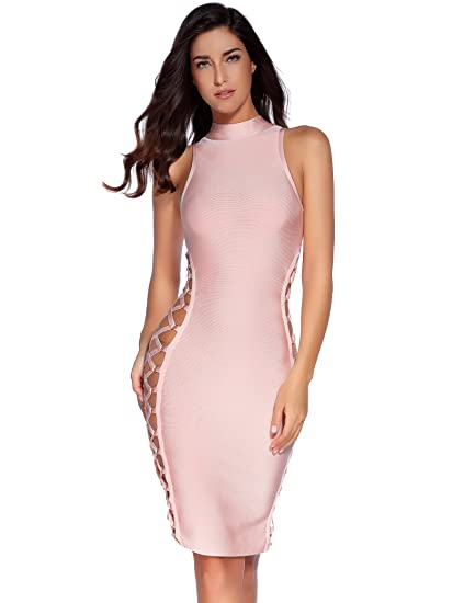 f5b3aa4b0569d Meilun Women's Lace Up Bandage Dress Sexy Bodycon Club Party Dress