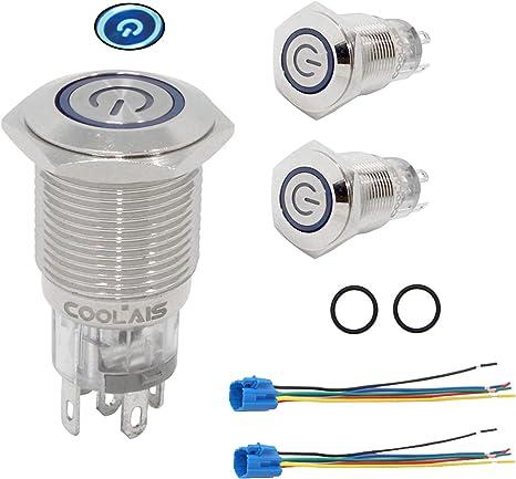 Imperméable bleu ON-OFF Verrouillage 12 mm Bouton Poussoir Interrupteur SPST IP67