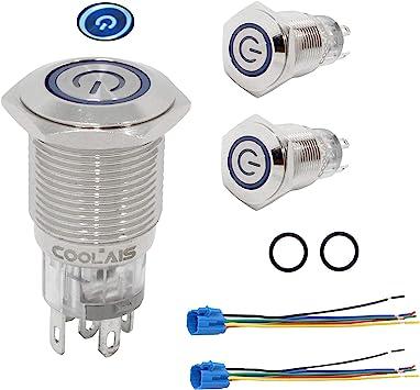 16mm 12V Starter Schalter//Boot Horn Momentan Drucktaste Wasserfest Start Messing