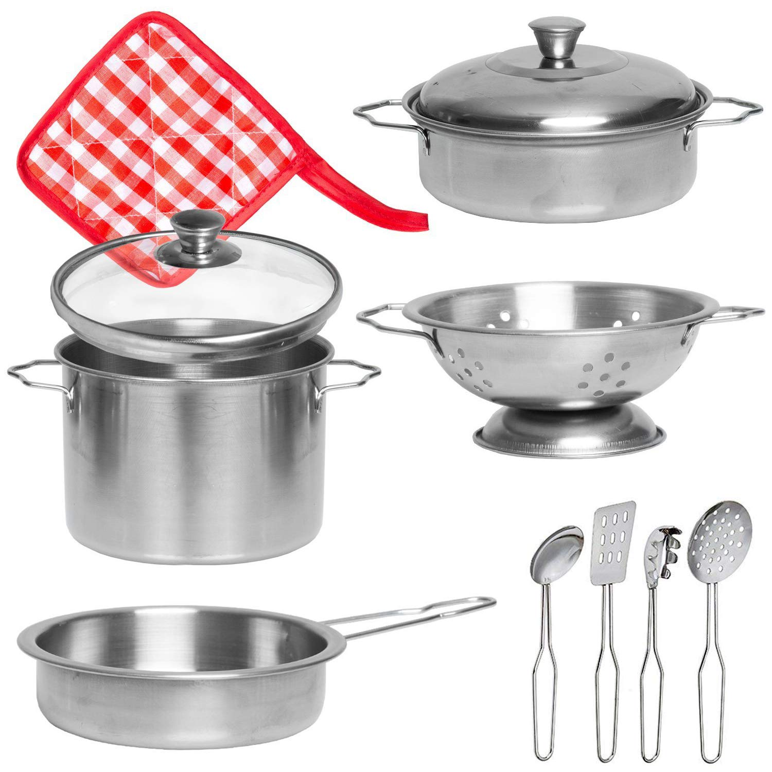 Amazon Com Liberty Imports Stainless Steel Metal Pots And Pans Kitchen Cookware Playset For Kids With Cooking Utensils Set Toys Games