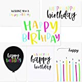 Sustainable Greetings 144-Pack Blank Happy Birthday Cards Bulk Box Set, 6 Assorted Designs, Envelopes Included, 4 x 6…