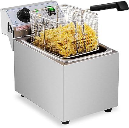 Royal Catering Freidora Electrica Profesional Para Hostelería RCEF 08EB (8 Litros, Potencia 3.200 Watt, Temperatura: 50 – 200 °C, Zona Fría, Tapa ...