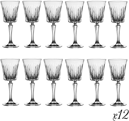 12 Deluxe Crystal Wine Glasses 22cl Modern Contemporary Art Deco Style Luxury Glassware Ideal For Christmas Festive Dining Fantastic Idea For 3rd Anniversary Present Housewarming Gift Amazon Co Uk Kitchen Home