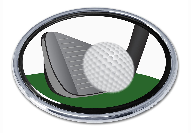 Golfer Swing Chrome Auto Emblem