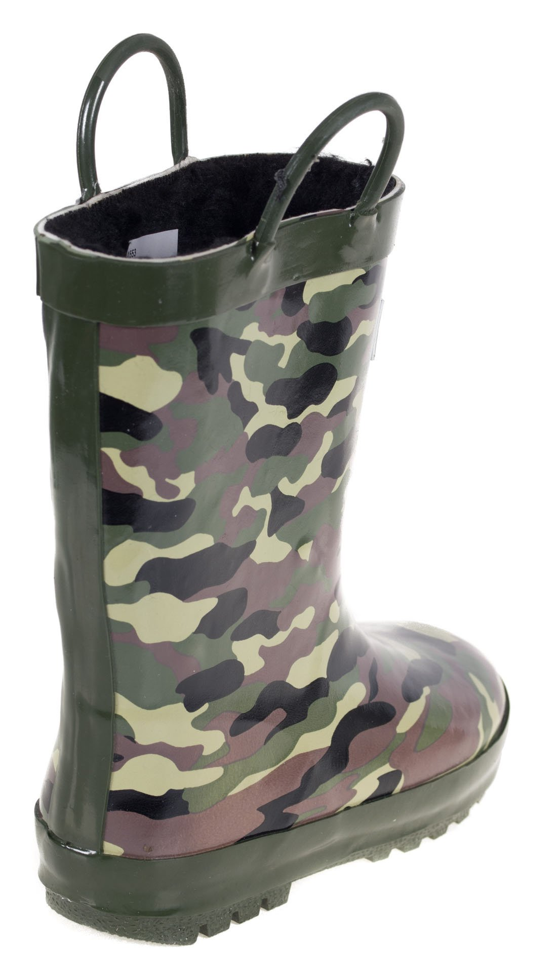 Boys Rain Rubber Boots, Best Warm Faux Fur Lined for Boys, Camo Army, Size 13 by Forever Young (Image #3)