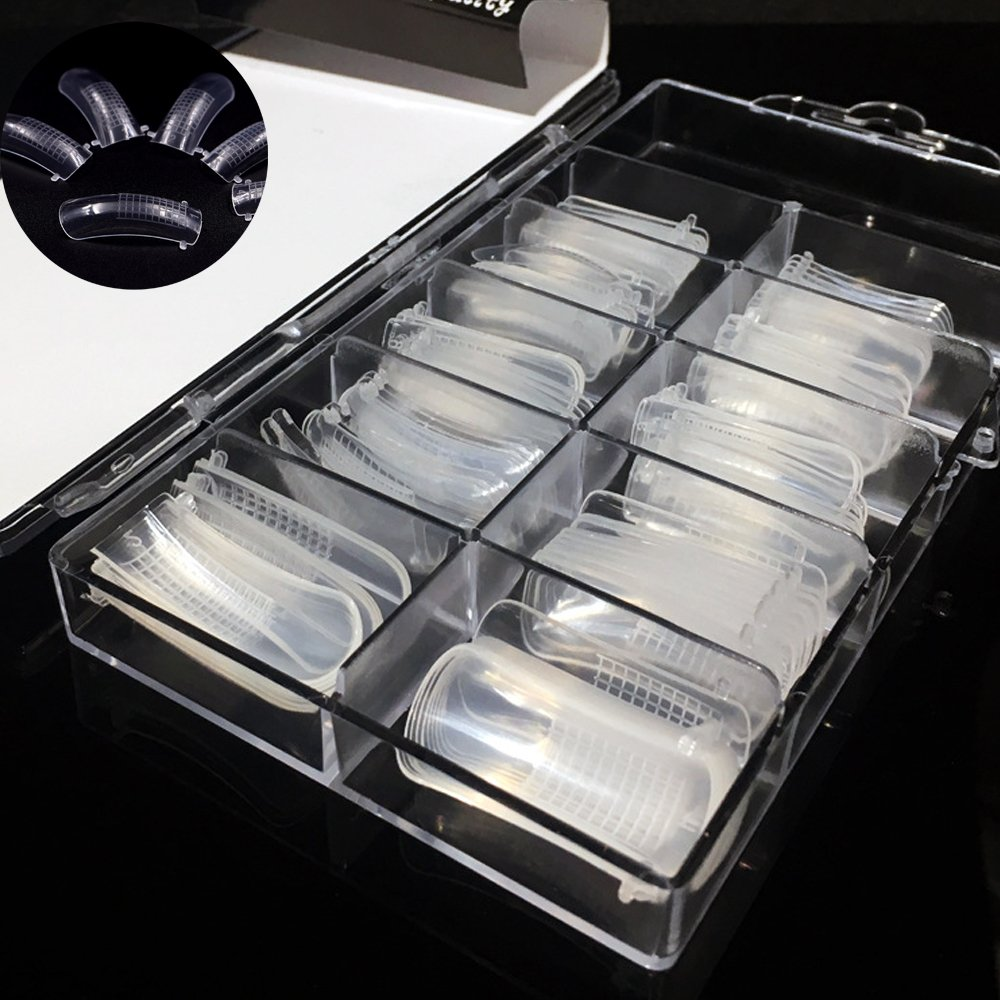 100PCS Clear Dual Nail System Form Full Cover Acrylic Nail Mold For UV Nail Art with Scale (Mold#1) JoofEric