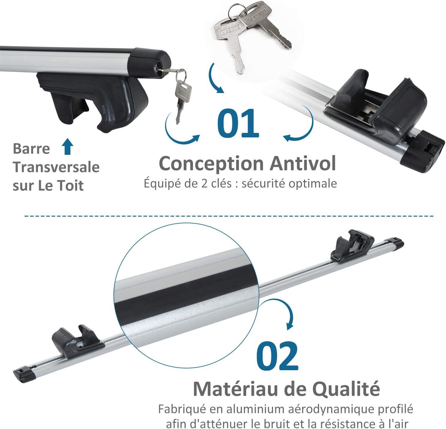 Homcom Barres de Toit universelles verrouillables pour Voiture Aluminium 135L x 13l x 7H cm Gris Noir
