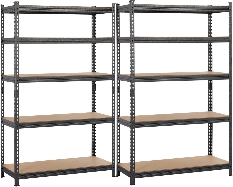 "Yaheetech Heavy Duty 2 Packs Shelving 5-Shelf Shelving Unit, Adjustable Storage Rack 73.5""H x 44"