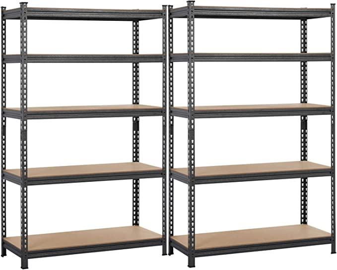 Yaheetech 2 Pcs Heavy Duty Shelving 5 Shelf Shelving Unit Adjustable Storage Rack 73 5 H Kitchen Dining
