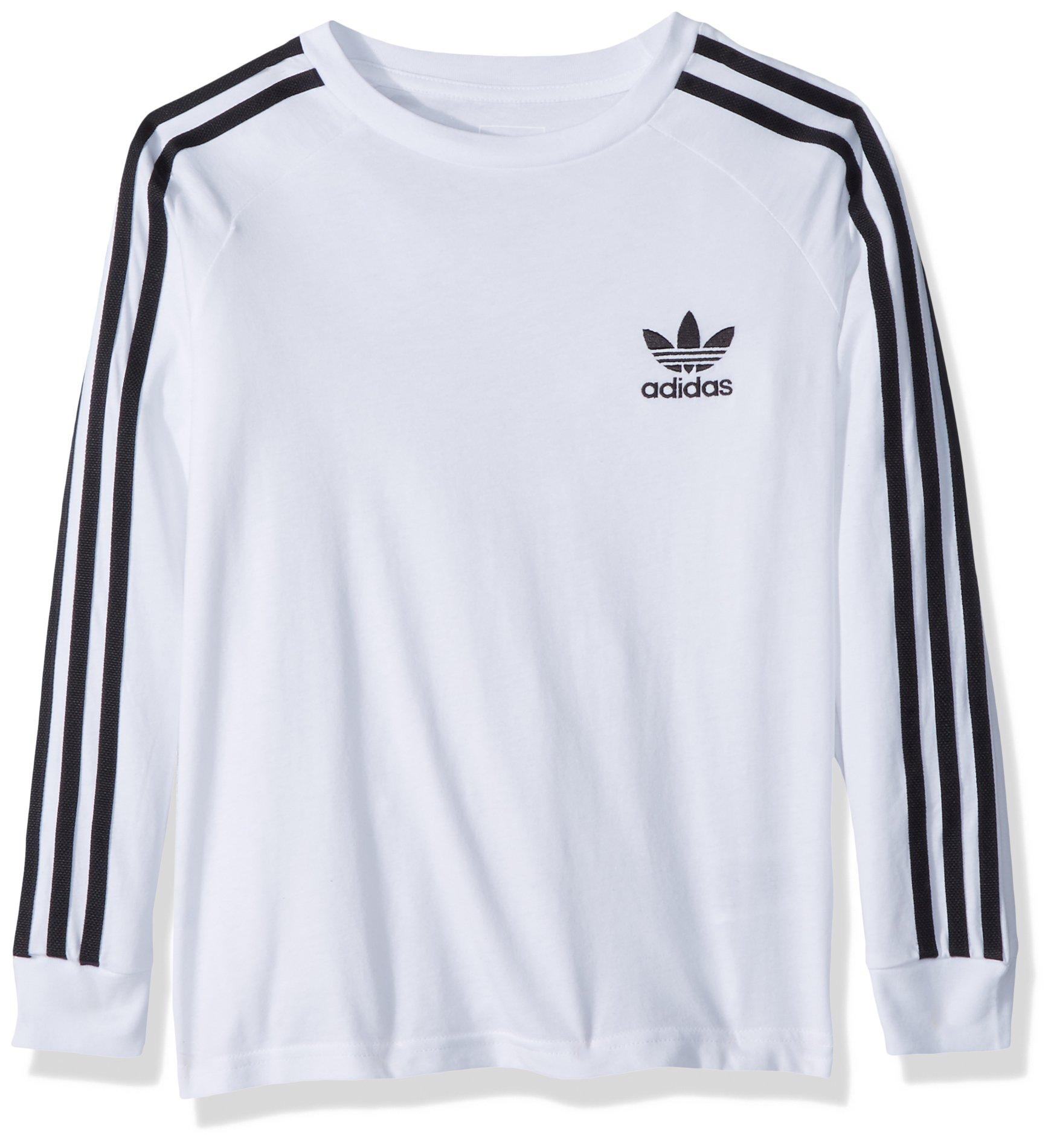 adidas Originals Big Boys' Originals California Long Sleeve Tee, White/Black, L