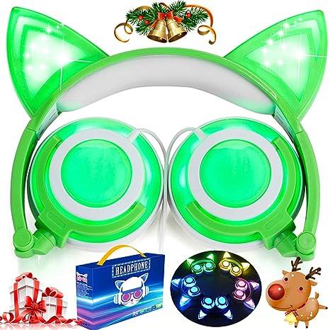 Amazon Com Cat Ears Kids Headphones With Led Light Up Usb