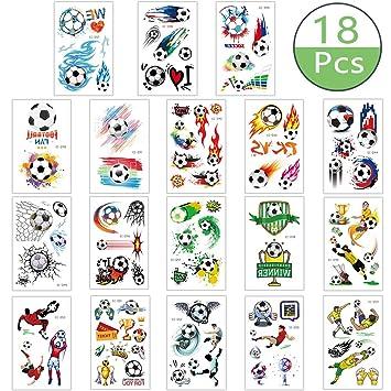 Pegatinas de Tatuaje para Niños, 18 Piezas de Tatuajes de Fútbol ...