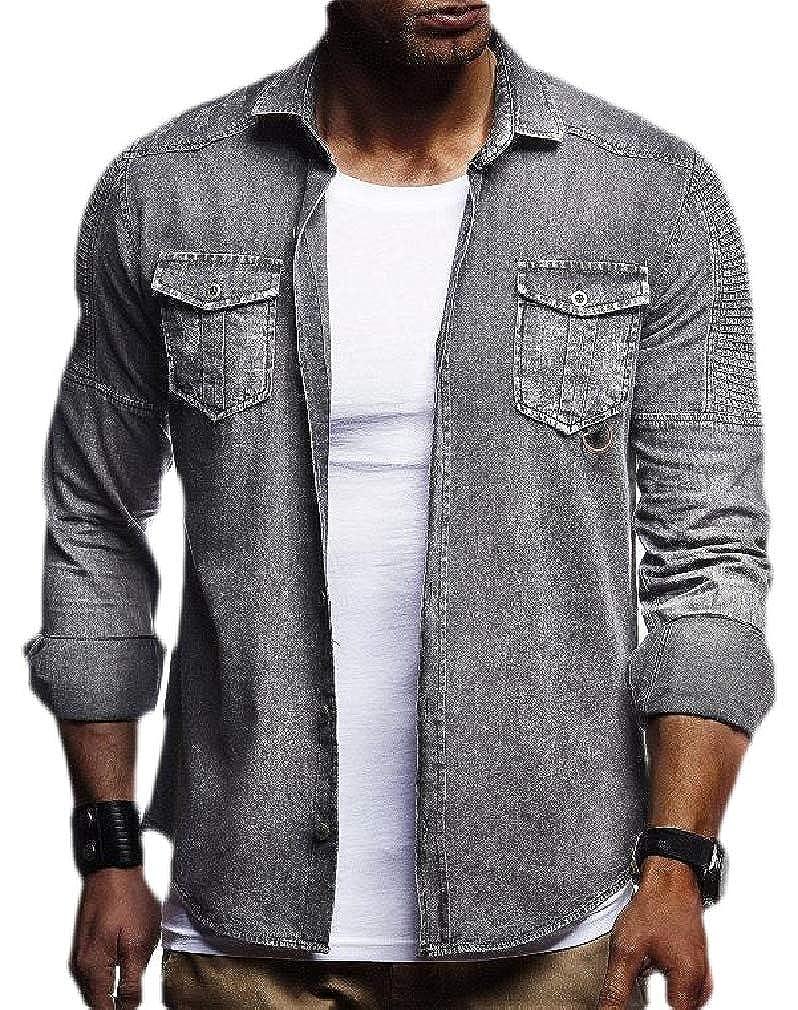 pipigo Mens Hip Hop Lapel Neck Denim Ruched Button Down Shirts with Pocket