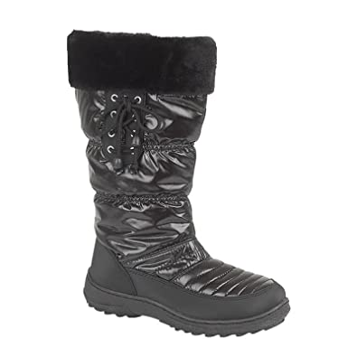 a635c82697d Women And Girls Snow Boots Ladies Winter Warm Fur Lined Flat Shoes   Amazon.co.uk  Shoes   Bags