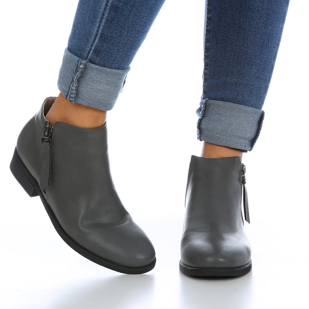 Daomumen Boots for Women Ankle Booties Low Heel Western Side Zipper Pointed Toe Solid Color