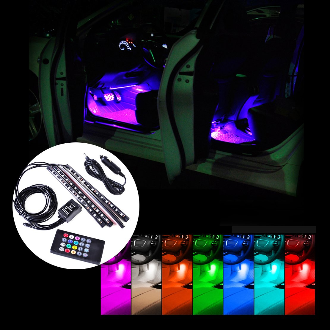 beler Car Interior Floor 12 LED Wireless Remote Control Decorative Atmosphere Multi-color Neon Lights Lamps Strip Kit (Fulfilled by ) hermeshine