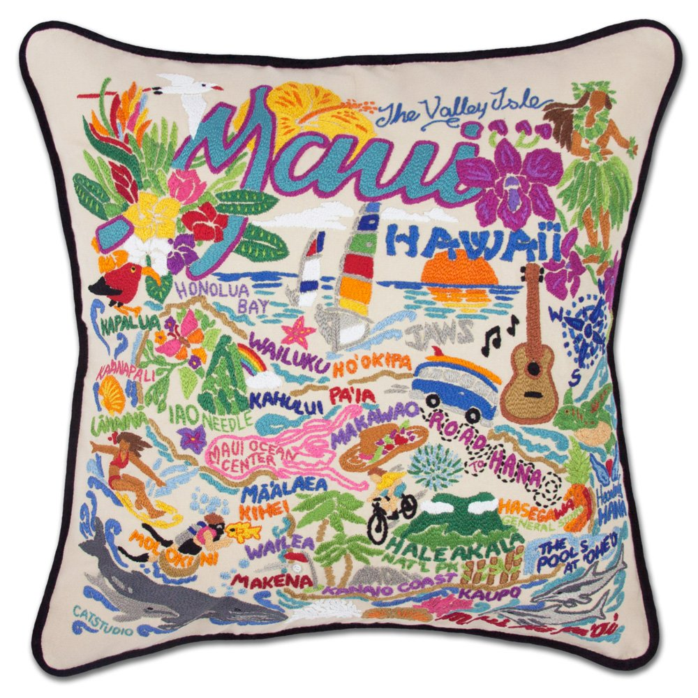 MAUI HAND-EMBROIDERED PILLOW - CATSTUDIO by Catstudio
