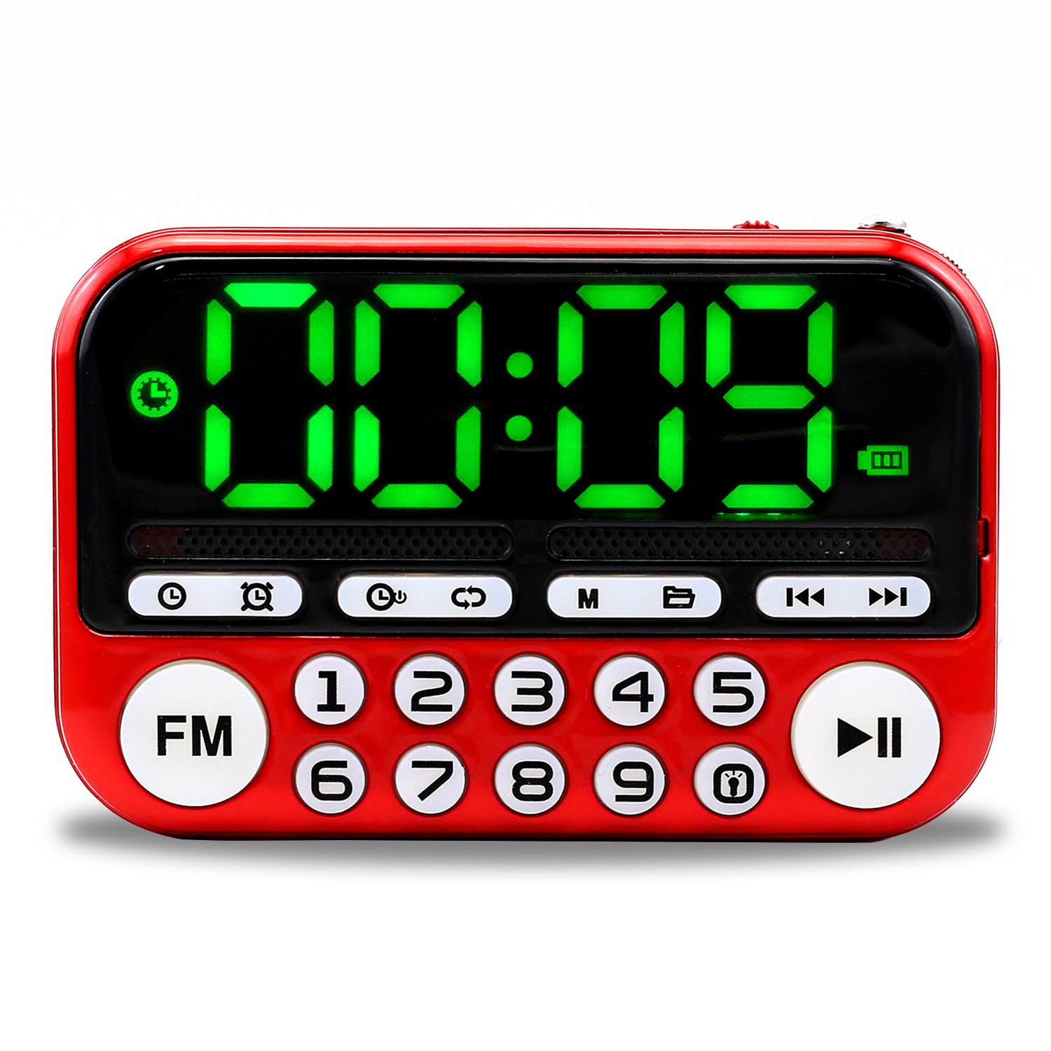 CHUNGHOP Portable Speaker Mini AM/FM Transistor Radio with MP3 Music Player Support Micro TF Card with Bg Buttons Luminous Alarm Clock (Red) Chargeable with USB Cable(Included)