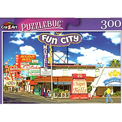 Motel and Restaurant Signs on Las Vegas Strip - 300 Pieces Jigsaw Puzzle: Toys & Games