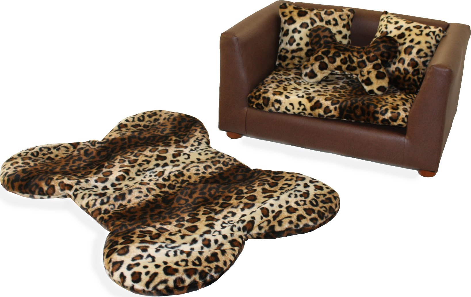 Keet Deluxe Orthopedic Memory Foam Dog Bed Set, Small, Leopard