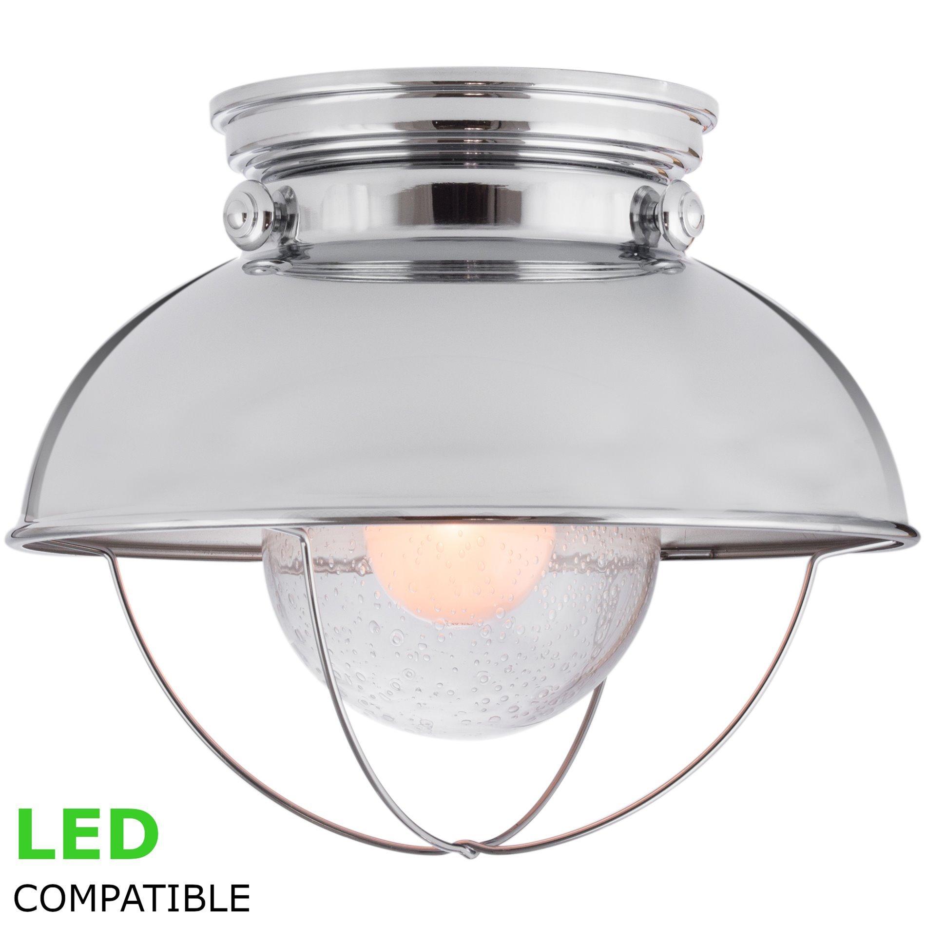 Kira Home Bayside 11'' Industrial Farmhouse Flush Mount Ceiling Light + Bubble Glass Shade, Chrome Finish