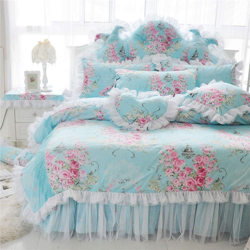 LELVA Romantic Rose Flower Print Bedding for Girls Duvet Cover Set with Bed Skirt Blue Lace Ruffle Floral Shabby Bedding Sets King 4 Piece