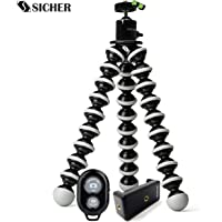 Slovic Gorilla Tripod 10 inch for Dslrs & Mobiles with Ball Head On Top with Mobile Holder & Bluetooth Remote (Black-White)
