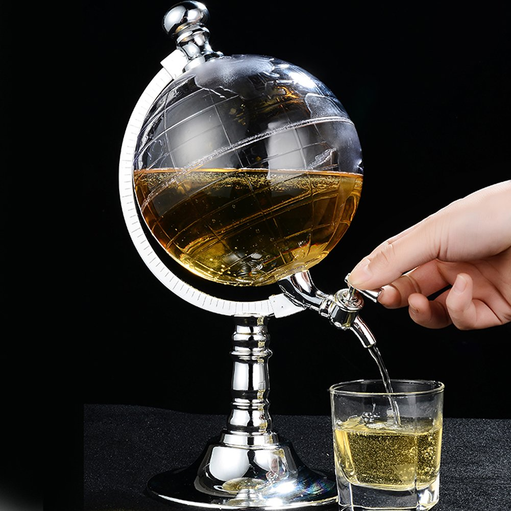 Globe Style Liquor Decanter for Beer Mini Bar Accessories 52 OZ Liquid Drinking Separate Wine Tools Inverted Wine Rack Water Pump Dispenser Machine By OAKZIP by OAKZIP (Image #3)