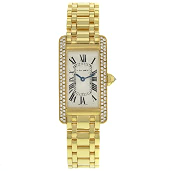 Cartier Tank Americaine Wb7043jq Damen Armbanduhr Diamant Besetzt