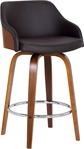Alec Faux Leather Swivel Barstool, 26 Counter Height, Brown