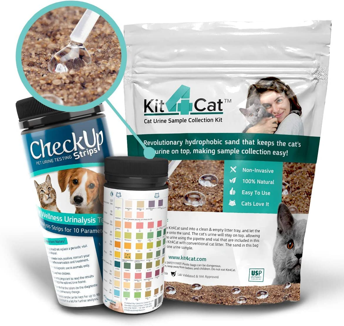 Kit4Cat Litter & Test Bundle - Kit4Cat Hydrophobic Litter with CheckUp 10 Parameters Testing Strips x 50