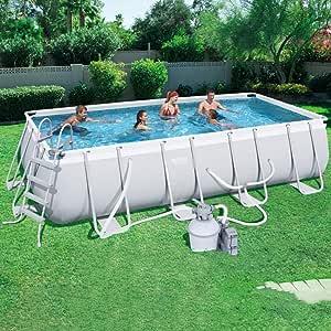 Piscina con marco para piscinas para niños, tamaño extra grande, ideal para 1-8 personas, no requiere instalación, juego asequible (color azul, tamaño: 15 pies), gris, 13.3ft: Amazon.es: Hogar