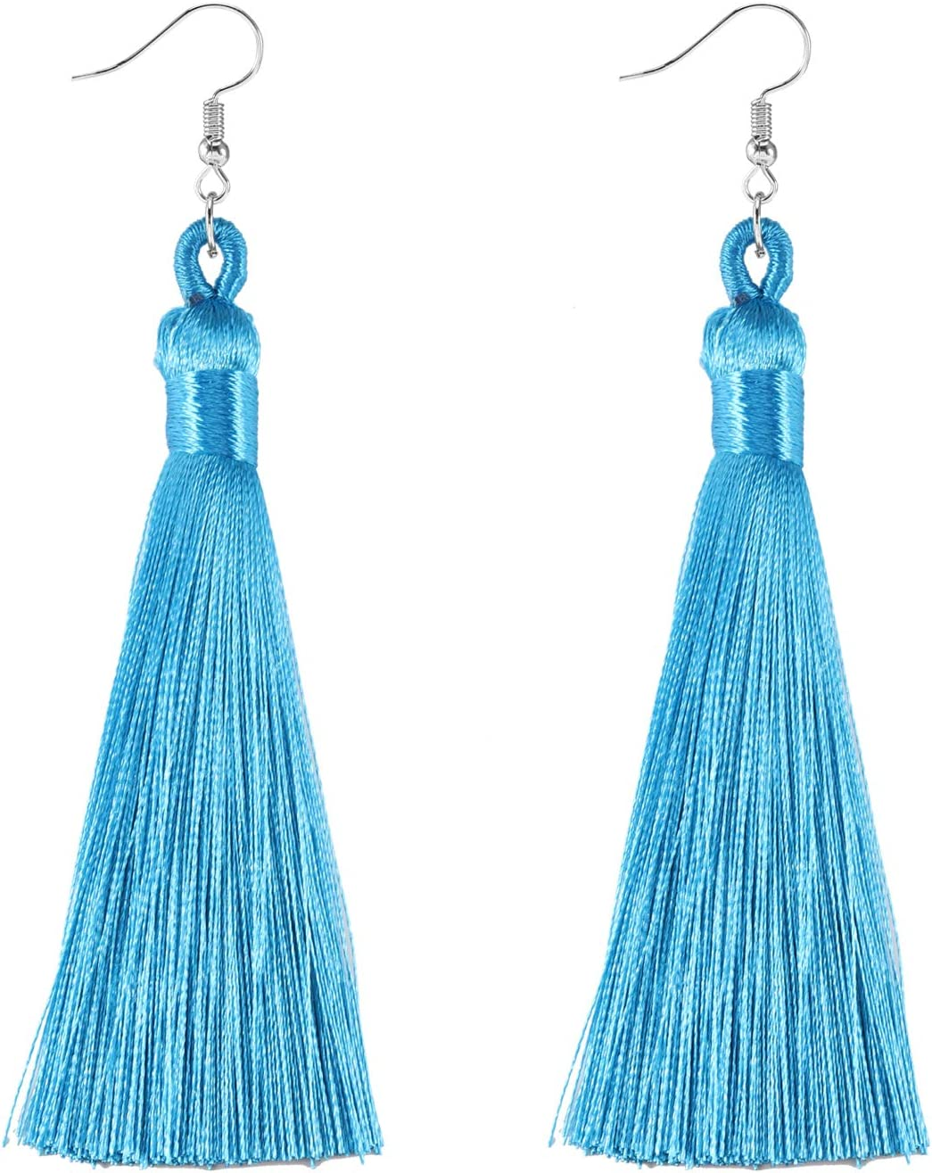 Forise 20pcs Silver Tassels Fashion Silky Elegant Handmade Tassels Fit for DIY Jewelry Making Accessories,90mm