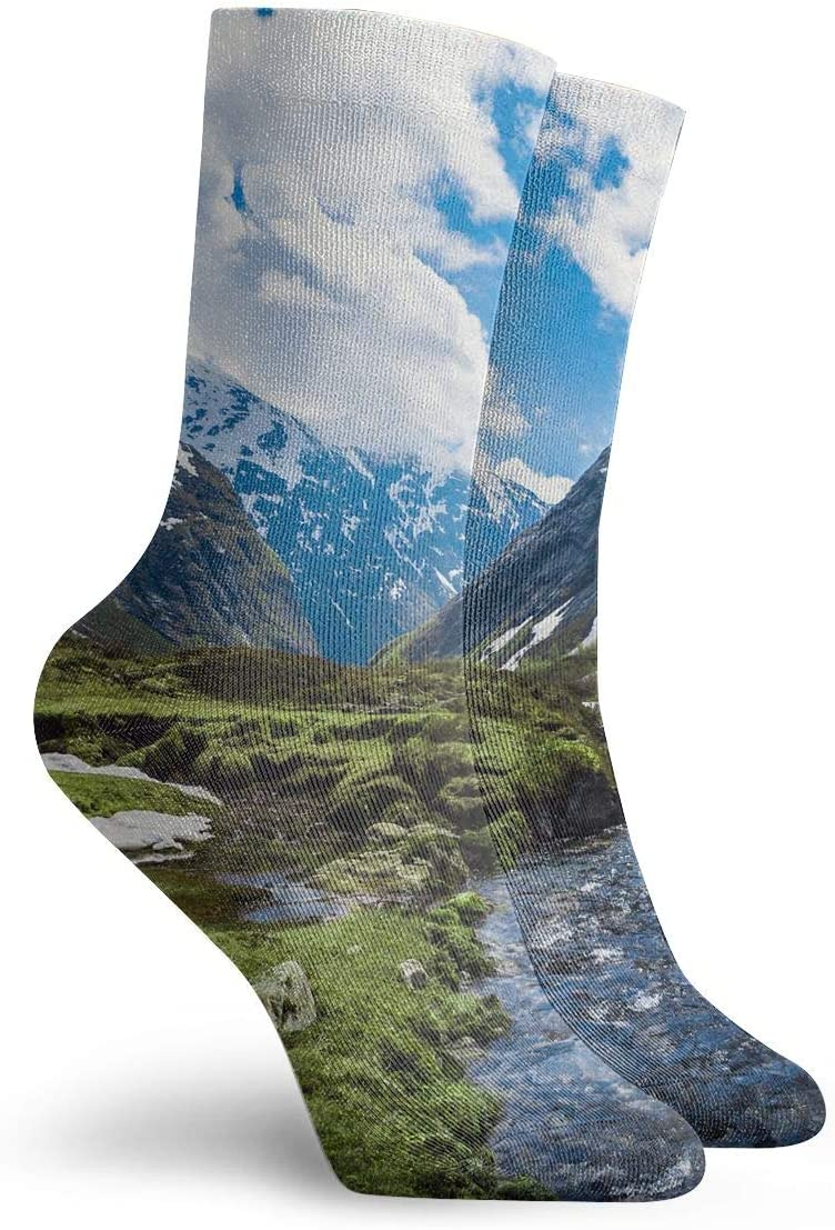 WEEDKEYCAT Mountains Landscape River Adult Short Socks Cotton Cute Socks for Mens Womens Yoga Hiking Cycling Running Soccer Sports