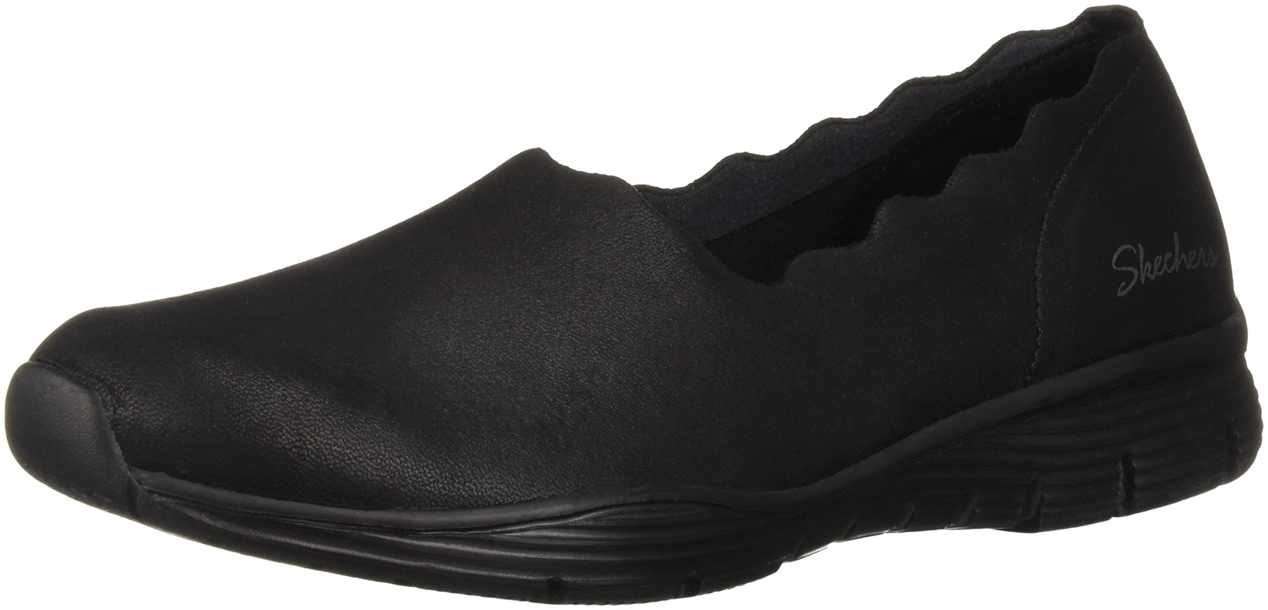 Skechers Women's Seager - Triple Ripple - Scallop Collar Slip On Loafer, Black, 7 M US
