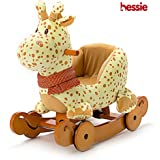 Hessie Modern Plush Rocking Horse with Soft Cute Stuffed Animal, Indoor Ride On Toys Rockers with Wheels for Toddlers Kids Little Boys & Girls (6-36 Months) - Padded Yellow Giraffe with Sound Paper
