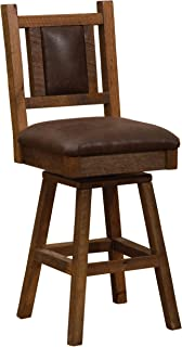 "product image for Fireside Lodge Barnwood Swivel Upholstered Counter Stool with Back - 24"" Seat Height"