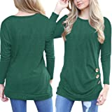 ECOWISH Womens Casual Long Sleeve T-Shirts Buttons